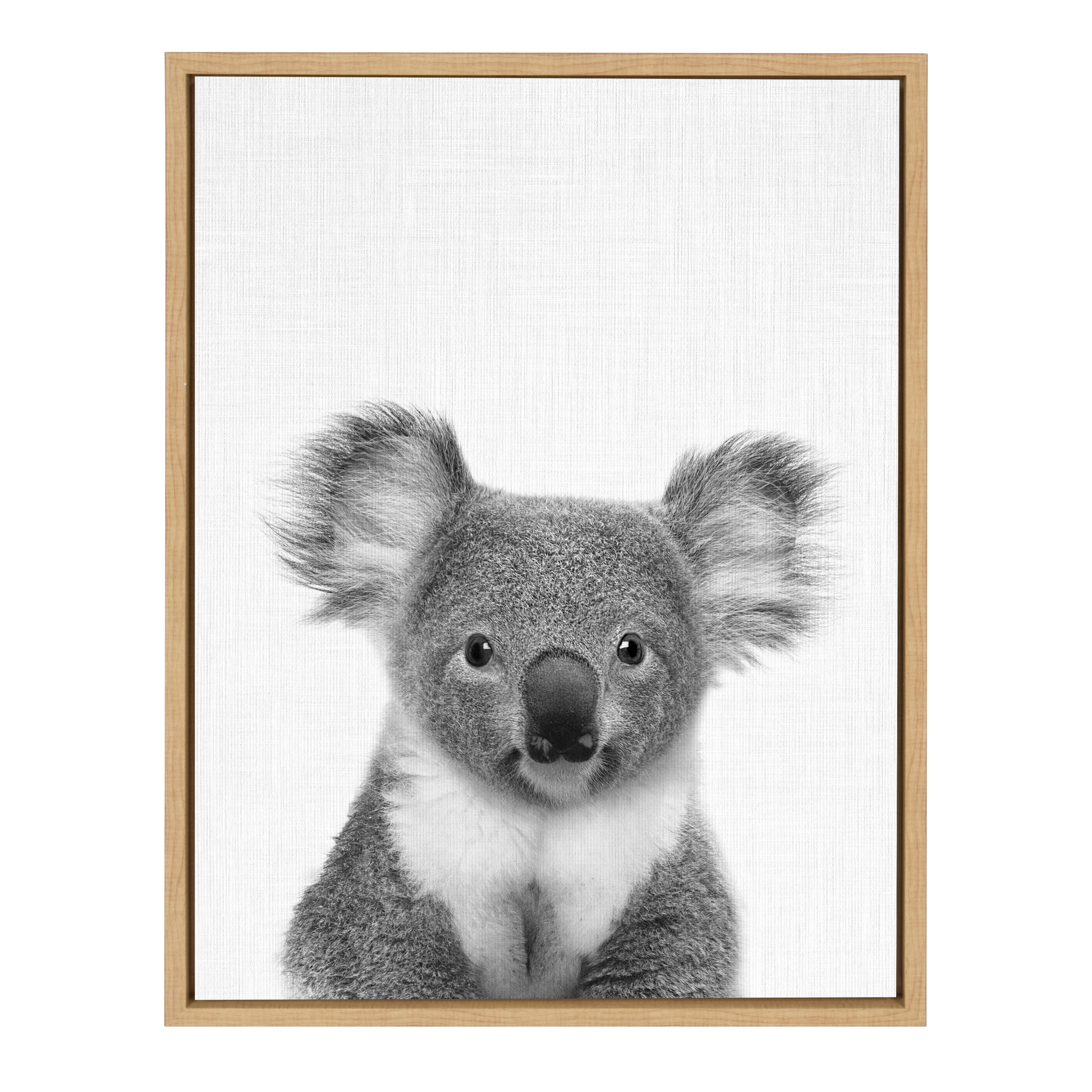 Kate and laurel sylvie koala bear black and white portrait 18x24 natural framed canvas wall art by simon te tai walmart com