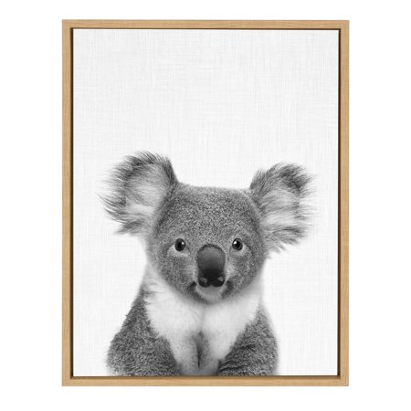Kate and Laurel - Sylvie Koala Bear Black and White Portrait 18x24 Natural Framed Canvas Wall Art by Simon Te Tai