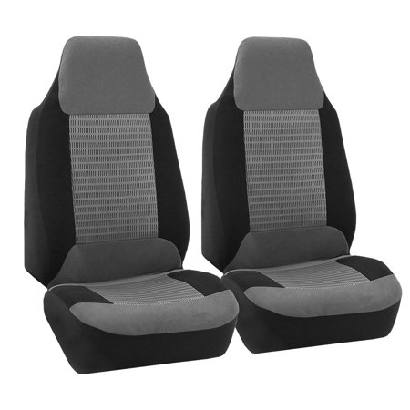 FH Group Premium Fabric Front High Back Car Truck SUV Bucket Seat Cover Airbag Compatible, Pair, Gray and