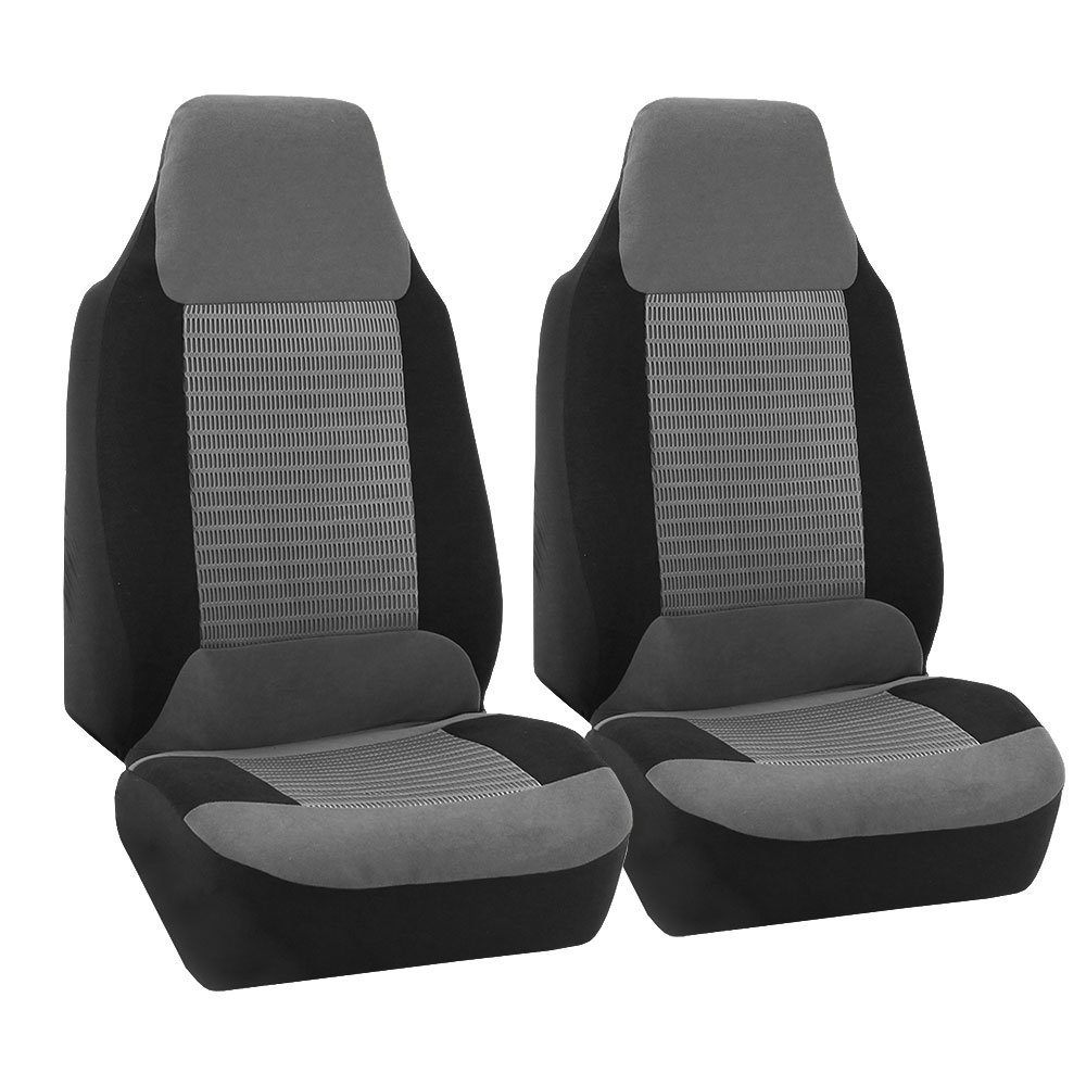 FH Group Premium Fabric Front High Back Car Truck SUV Bucket Seat Cover Airbag Compatible, Pair, Gray and Black