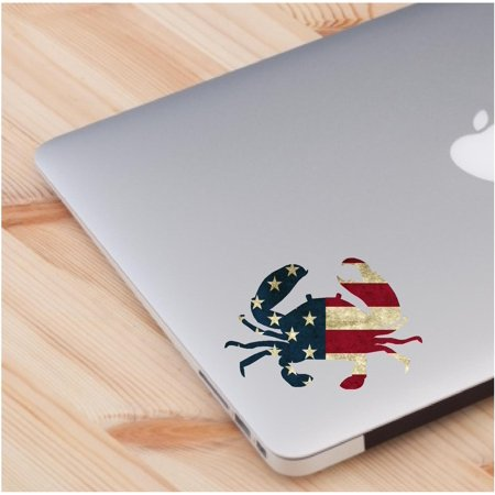 Laptop Sticker Crab Cute American Flag Theme Skin Decal Sticker Laptop D Cor Accessories  2 In A Pack