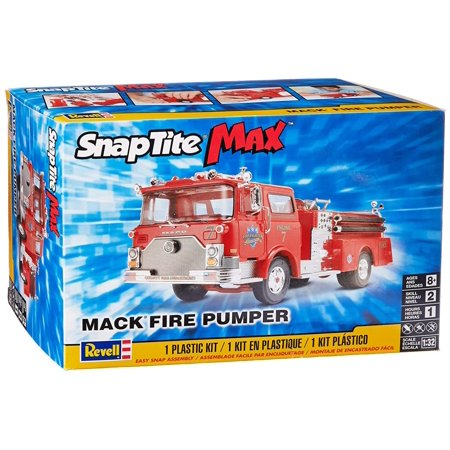 Detailed Chassis (SnapTite Max Mack Fire Pumper Model Kit, Chassis and interior are super detailed with hose reels, sirens, emergency lights and pump control panel By)