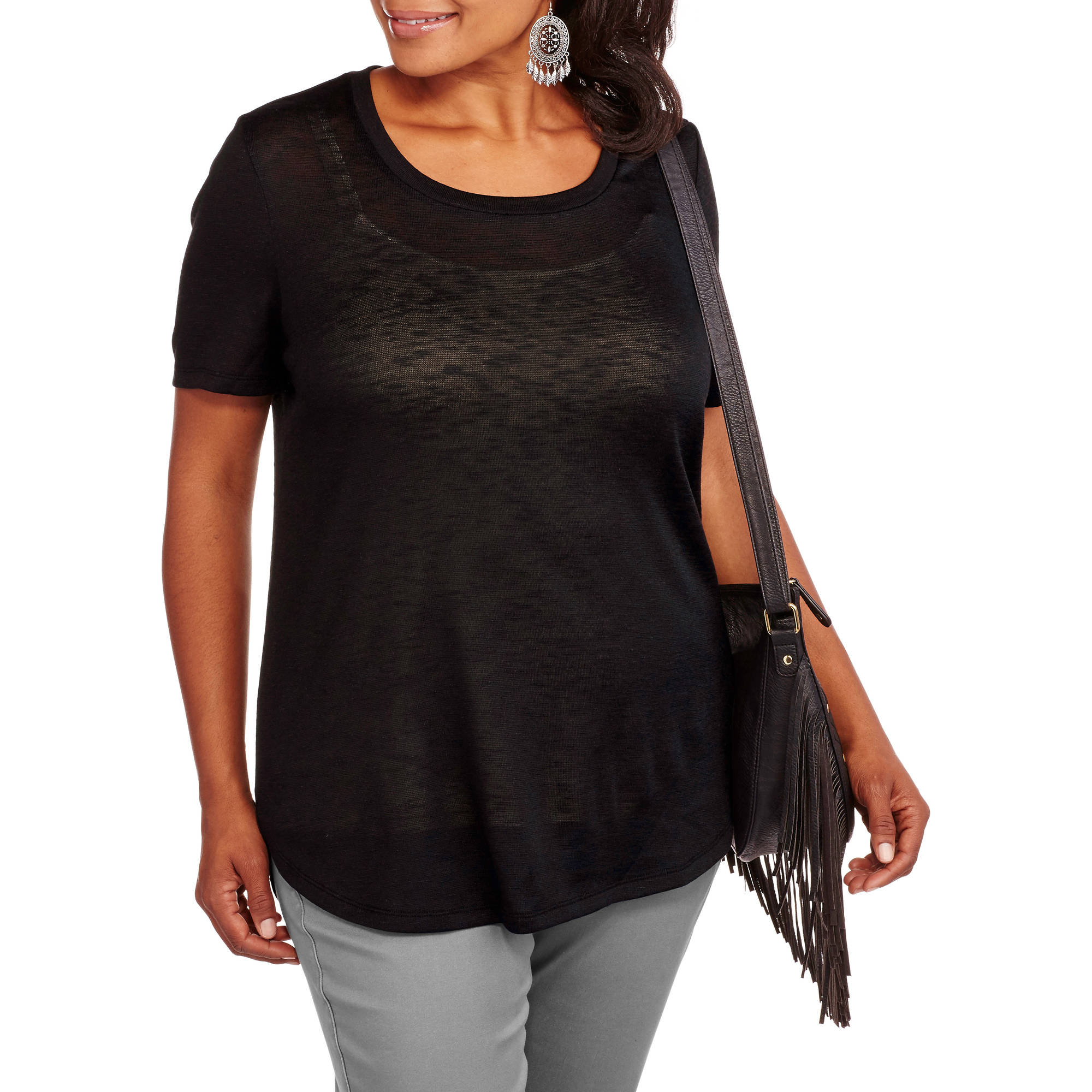 Faded Glory Women's Plus-Size Hacci Crew Knit Top Short Sleeve