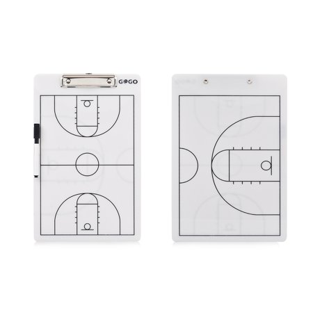 GOGO Basketball Double Sided Coaching Board, Easy-wiped Erasable Coach Clipboard, 14