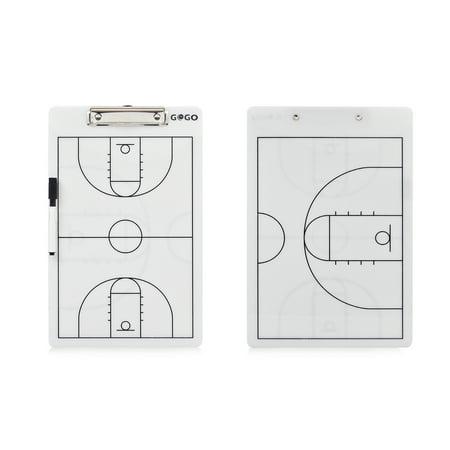 GOGO Basketball Coach's Reversible Dry Erase Board, Easy-wiped Erasable (Coaching Board)