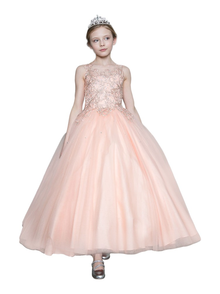 calla collection girls blush pink gold embroidered pageant dress