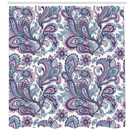 Paisley Shower Curtain Blue And Purple Flowers Leaves Floral Pattern Bohemian Style Country Print Fabric Bathroom Set With Hooks White