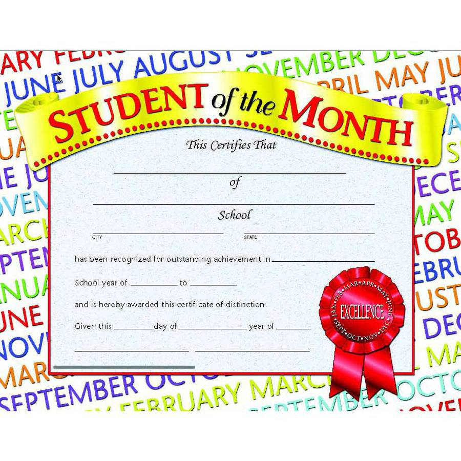 "Hayes Student of The Month Certificate, 8.5"" x 11"", Pack of 30"