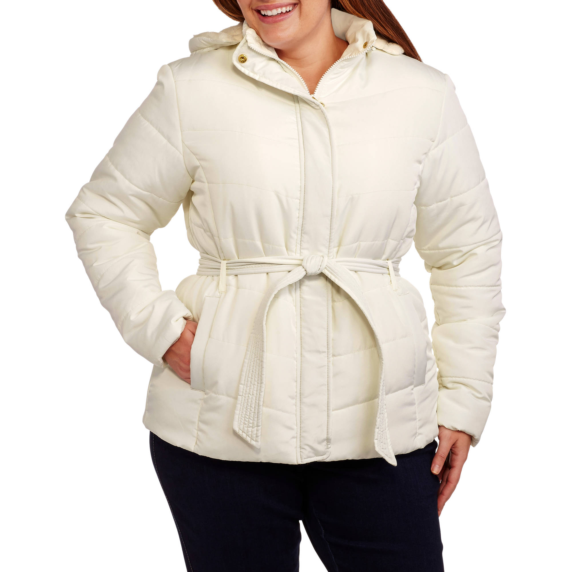 Climate Concepts Women's Plus-Size Belted Hooded Puffer Coat with Faux Fur Trim