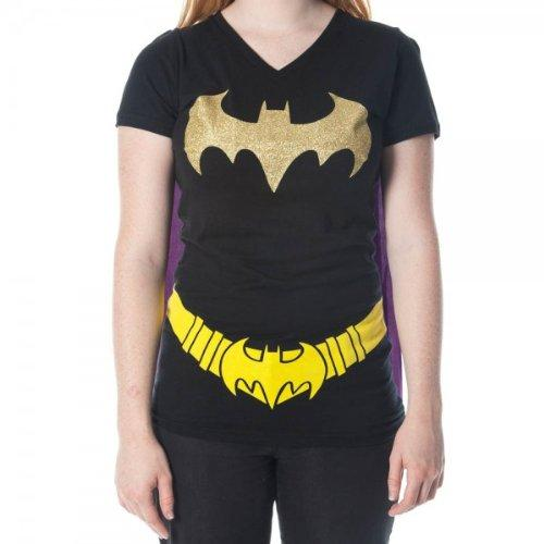 Batman Glittered Logo Juniors Black V-Neck Cape T-Shirt Large