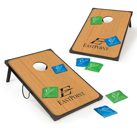 EastPoint Sports Deluxe Bean Bag Toss; 3 ft x 2 ft. Bean Bag Toss Boards Feature Reinforced Corners and Sides for Exciting Play; 8 Colorful Blue and Green Bean Bags for any Event ()