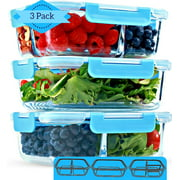 1 & 2 & 3 Compartment Glass Meal Prep Containers (3 Pack, 35 Oz)- Food Storage Containers with Lids, Portion Control, BPA Free, Microwave, Oven and Dishwasher Safe, Airtight, Leakproof