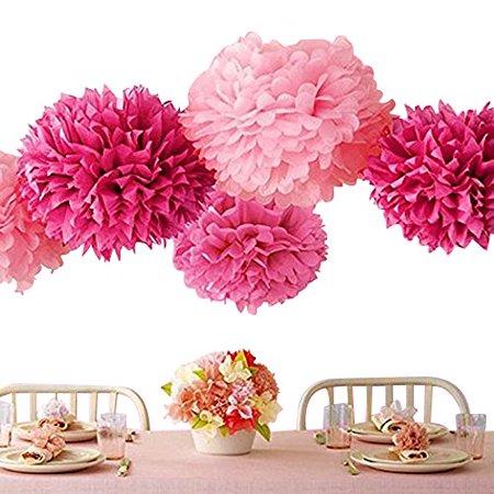 Bekith 20 Pack Tissue Paper Flowers Pom Poms Wedding Decor Party