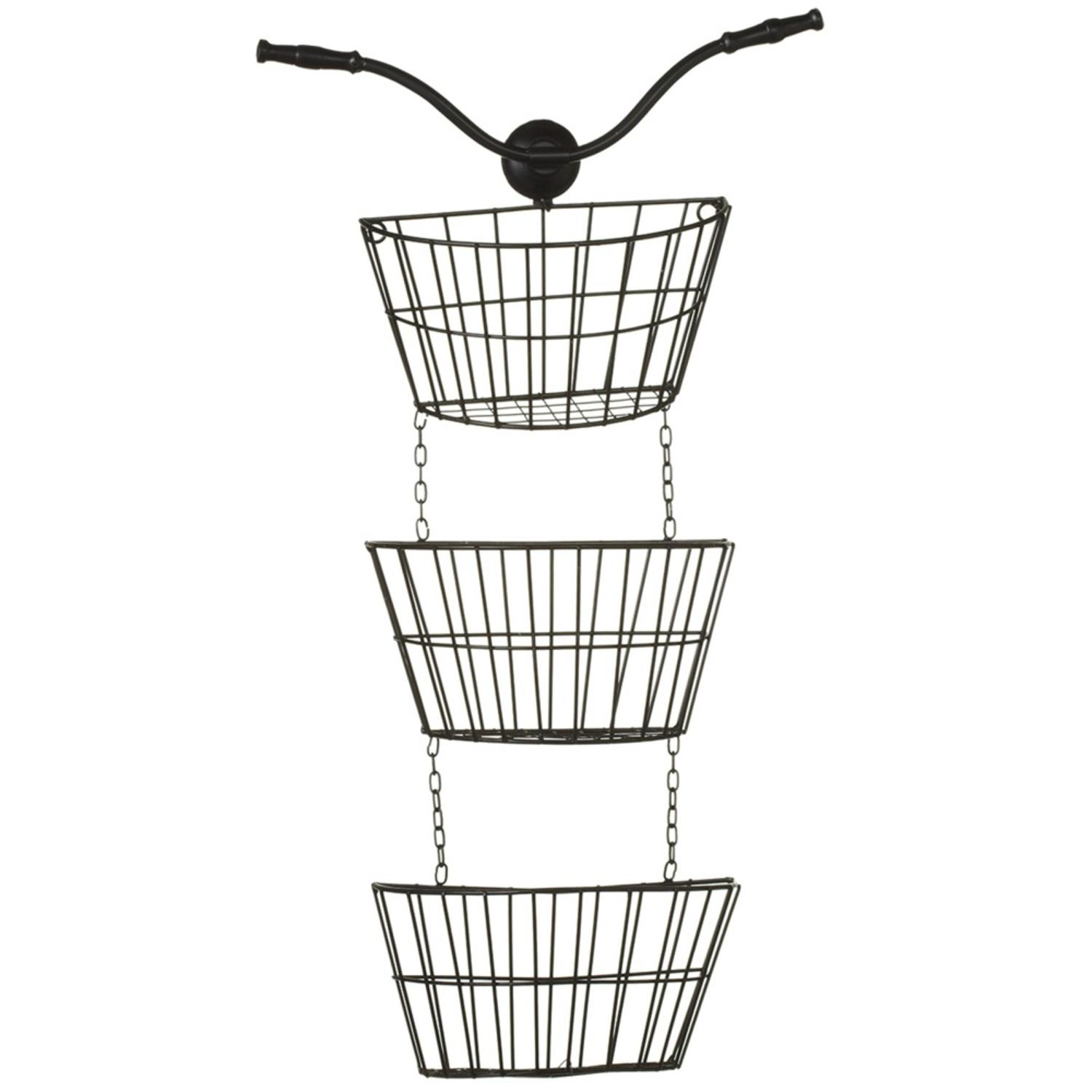 Black Bicycle Themed Metal Decorative Three Tier Hanging Wall Baskets 28""