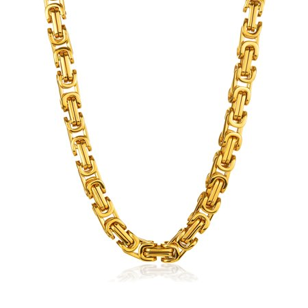 Gold Plated Stainless Steel Byzantine Chain Necklace - 30