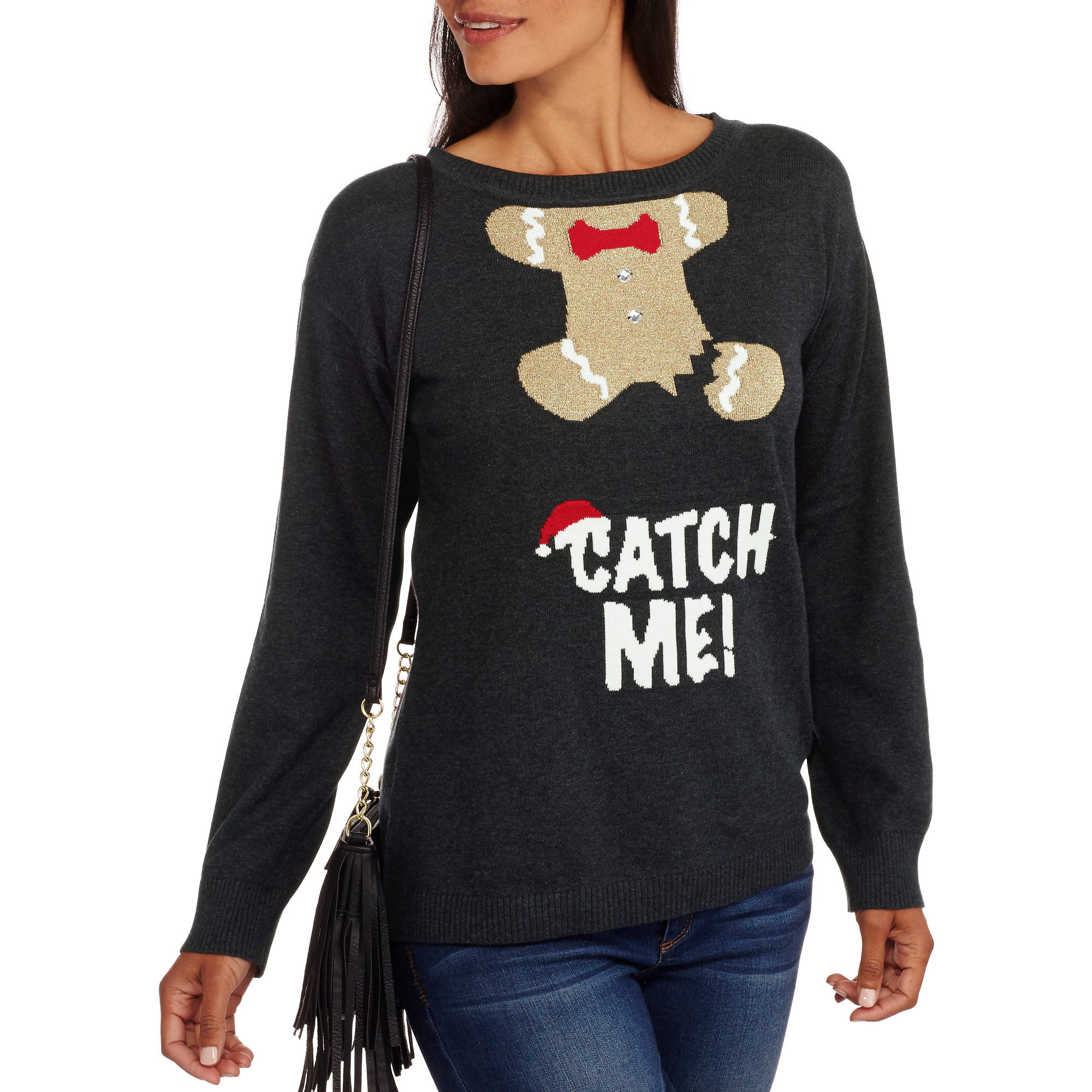 """Holiday Time Women'S Christmas Pullover Sweater, Online Exclusive - """"Catch Me"""""""