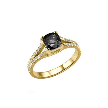 14K Yellow Gold 2.20 CTW Black Diamond Ring with Diamonds Split Shank Cushion With