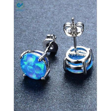 Deago 925 Sterling Silver Blue Fire Opal Stud Earrings 8MM Round Gemstone For Women