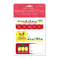 Island Heritage 12 Pack Adhesive Hawaiian Christmas Gift Tags Mele Pineapple
