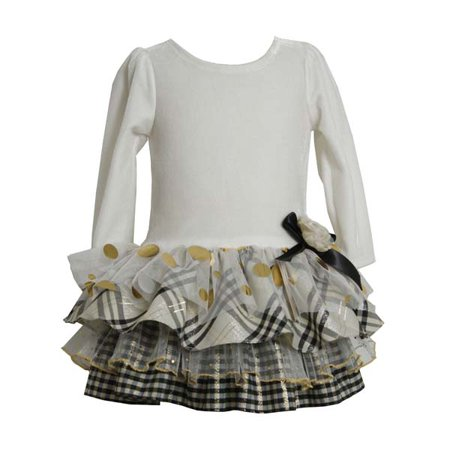 Girls Party Dresses: Ivory Plaid Tiered Dress 4 ()