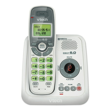 VTech CS6124 DECT 6.0 Cordless Phone with Answering System and Caller ID/Call Waiting, White with 1 Handset Dect 6.0 Cordless Phone Systems