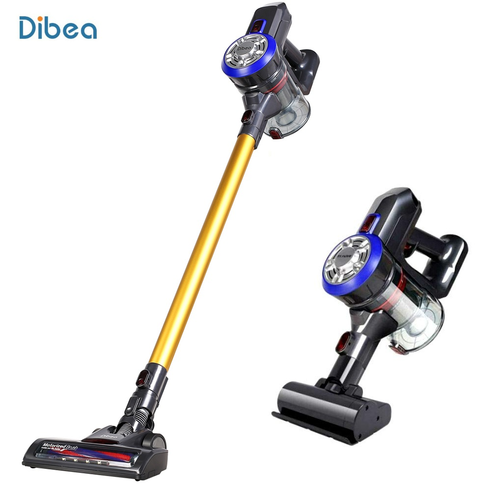 Dibea D18 Cordless 2 in 1 Lightweight Stick Handheld Vacuum Cleaner, Rechargeable Lithium-ion Battery with Charging Base, Gold