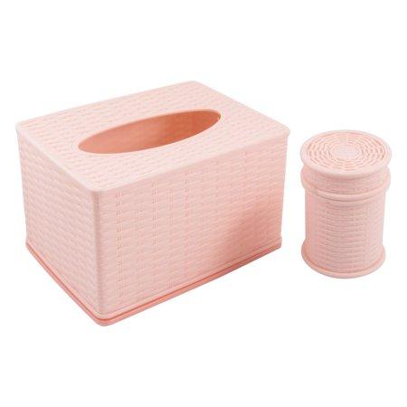 Pink Tissue Box (Unique Bargains Cars Tissue Rectangle Napkin Tissue Holder Light Pink w Cylinder Toothpick Box )
