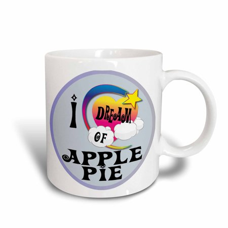 3dRose Cute Girly Heart Star Clouds I Dream Of Apple Pie, Ceramic Mug, 11-ounce