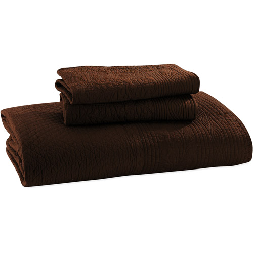 Global Trends Josephine Quilt and Sham Set, Chocolate Brown