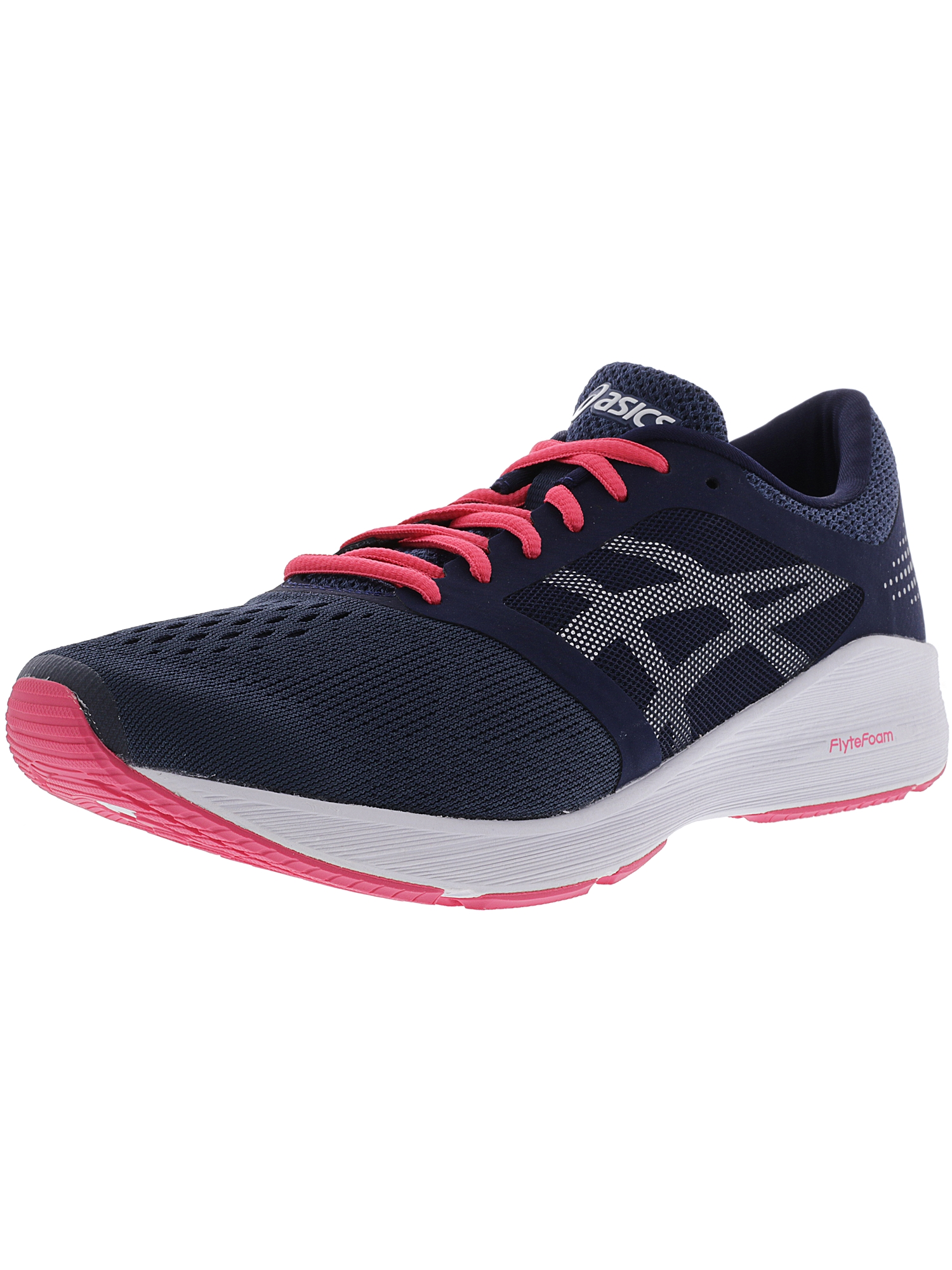 Asics Women's Roadhawk Ff Insignia Blue / Silver Rouge Red Ankle-High Fabric Running Shoe - 10.5M
