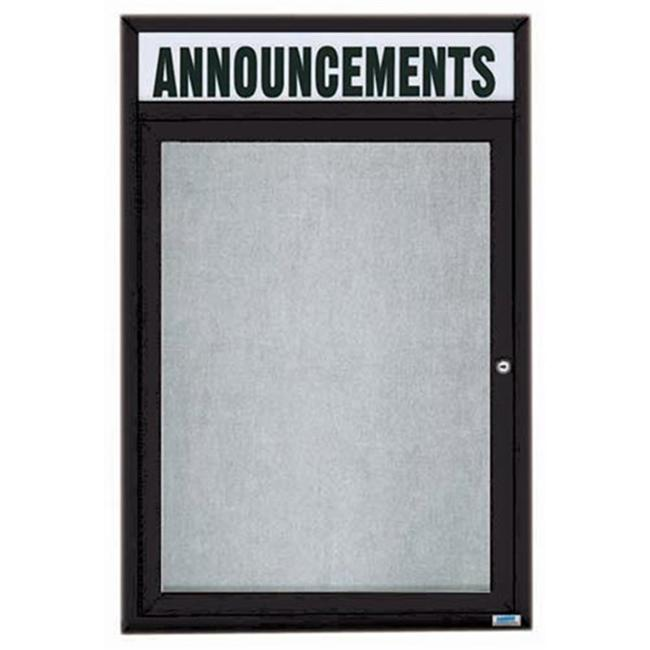 Aarco Products ODCC2418RHBK 1-Door Outdoor Enclosed Bulletin Board with Header - Black