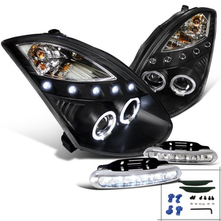Spec-D Tuning For 2003-2007 Infiniti G35 Coupe Black Halo Projector Headlights + Front Bumper Led Fog Lamps (Left+Right) 2003 2004 2005 2006