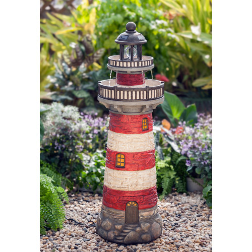 Better Homes and Gardens Lighthouse Fountain with Solar LED Light
