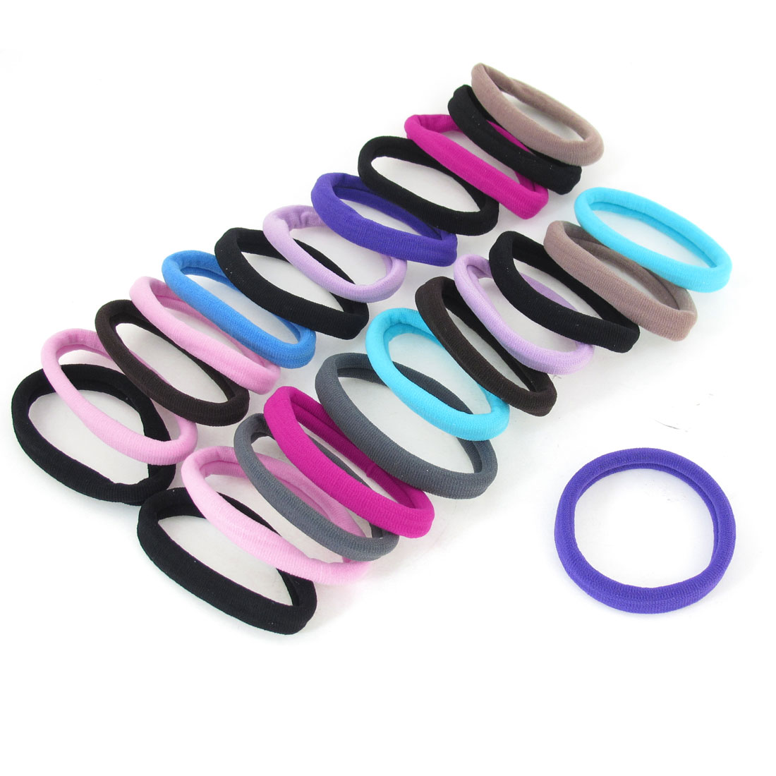 "Unique Bargains 24 Pcs Assorted Color Stretch Ponytail Holders Hair Ties Bands 0.4"" Width"