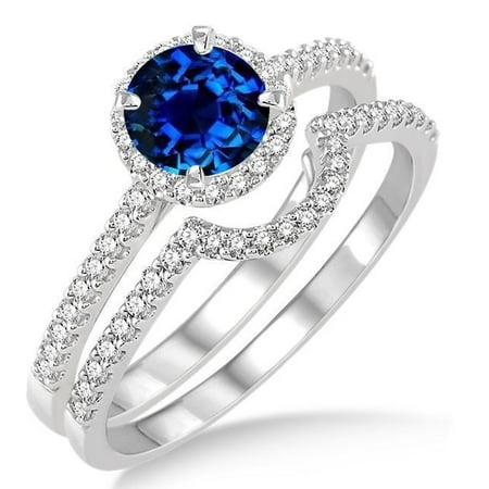 Elegant 2 Carat Round Cut Real Sapphire And Moissanite Bridal