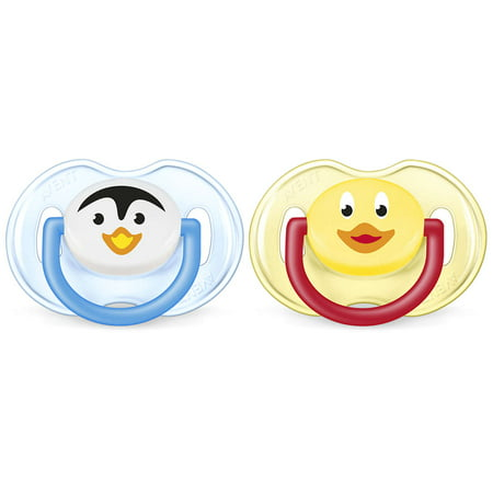 Philips Avent Orthodontic Pacifier, 0-6 Months, Penguin/Duck - 2 Counts