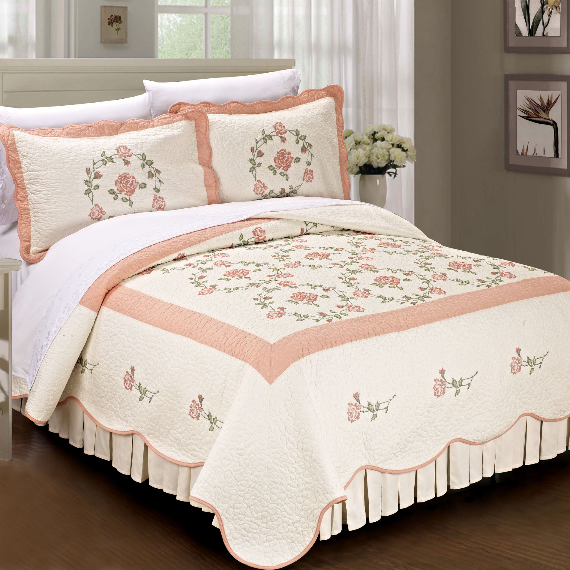 Serenta Roses 100% Cotton Quilted 3 Piece Bed Spread