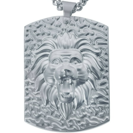 Jewelry Men's Stainless Steel Lion Head Dog Tag with Chain](Head Chain Jewelry)