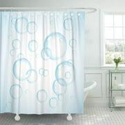 CYNLON Sky Wash Water Soap Bubble on Blue Realistic Aqua Bathroom Decor Bath Shower Curtain 66x72 inch