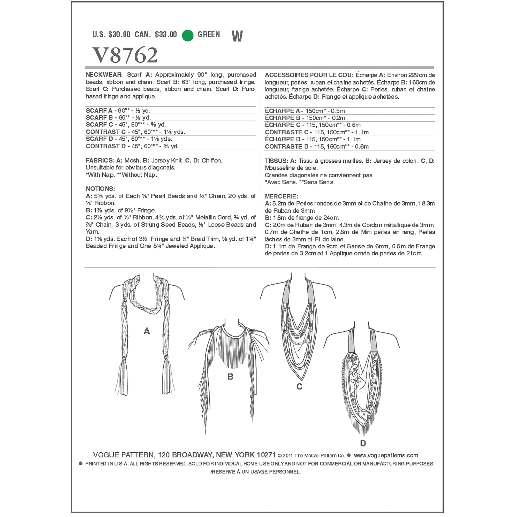 Vogue Pattern Neckwear, All Sizes
