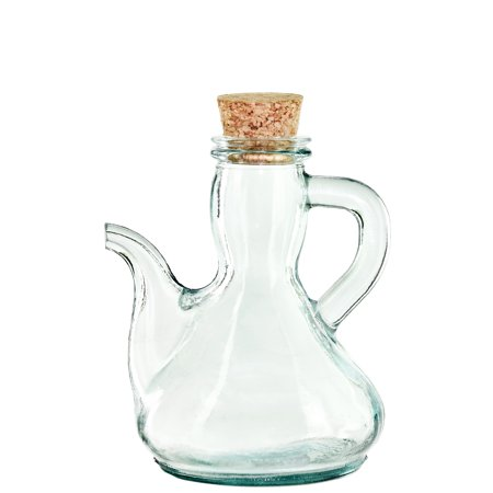 Couronne Co Spanish Glass Cruet with Cork, G5378-P, 6 inches tall, 8.5 Ounce Capacity, Clear 13 Ounce Clear Glass