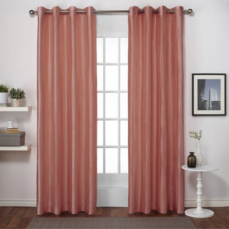Exclusive Home Chatra Faux Silk Window Curtain Panel Pair with Grommet Top