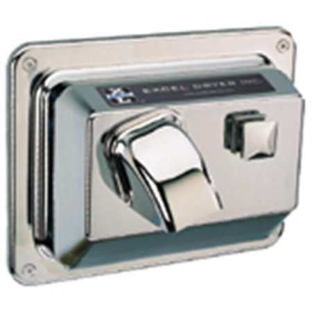 Excel Dryer H76-C Cast Cover Series Hands On Push Button Surface Mounted Hair Dryer - Chrome Plated