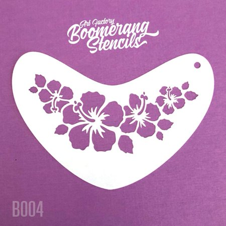 Art Factory Boomerang Stencil - Hibiscus Crown, Reusable Face Painting Stencil, Great for Fairs, Carnivals, Party and Halloween - Halloween Painting Ideas Faces