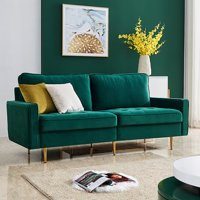 Mid Century Couches and Sofas, Modern 2 Seater Sectional Sofa with 2 Soft Pillow, High End Velvet Fabric Sofas with Metal Legs, Living Room Furniture for Small Space, Holds 700 lbs, Emerald, Q9239