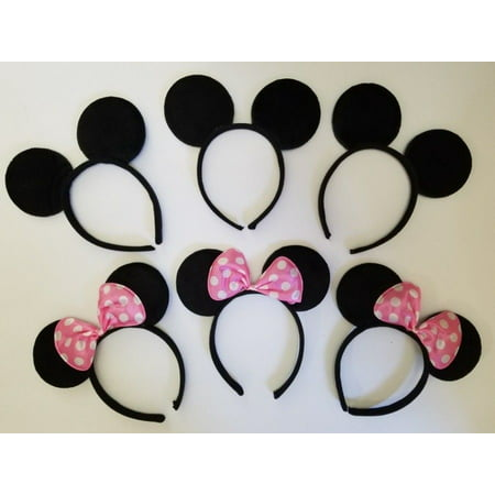 LWS LA Wholesale Store  12 Minnie Mouse Mickey Headband Black & Lt Pink Polk Bow Birthday Party Favors & ** 1 Free miniature figures](Minnie Mouse Birthday Backdrop)