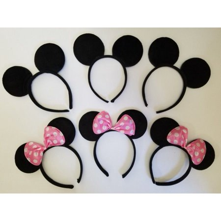 LWS LA Wholesale Store  12 Minnie Mouse Mickey Headband Black & Lt Pink Polk Bow Birthday Party Favors & ** 1 Free miniature figures