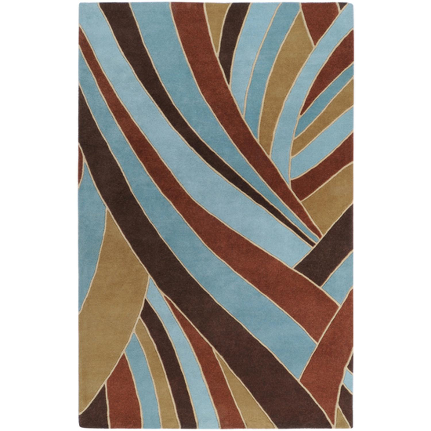 9' x 12' Mediterranean Jungle Contemporary Blue and Brown Wool Area Throw Rug