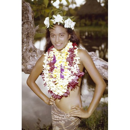Tarita in Mutiny on the Bounty Exotic pin up pose wearing lei flowers 24x36 Poster - Leis Flowers