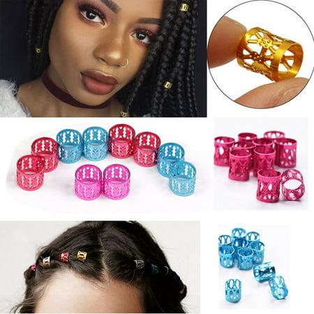 100 Pieces Dreadlocks Metal Hair Cuffs Hair Braiding Beads Filigree Hair Accessory